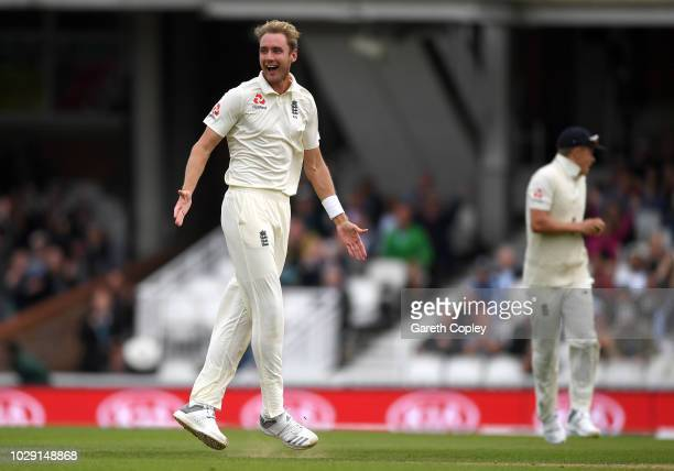 Stuart Broad of England celebrates dismissing Shikhar Dhawan of India during day two of the Specsavers 5th Test match between England and India at...