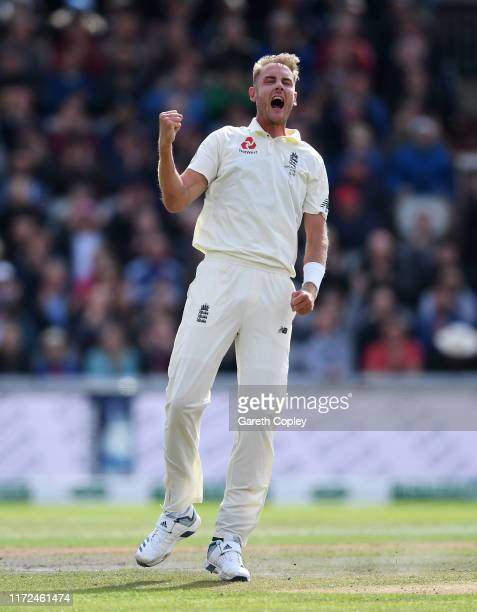 Stuart Broad of England celebrates dismissing Travis Head of Australia during day two of the 4th Specsavers Ashes Test between England and Australia...