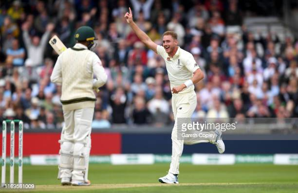 Stuart Broad of England celebrates dismissing Usman Khawaja of Australia during day one of the 3rd Specsavers Ashes Test match between England and...
