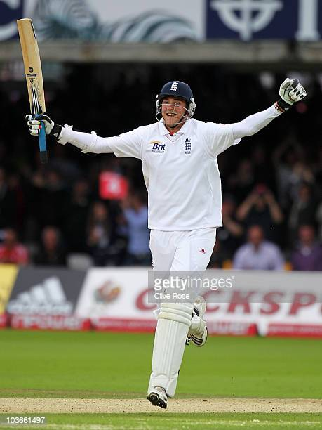 Stuart Broad of England celebrates his century during day two of the 4th npower Test Match between England and Pakistan at Lord's on August 27 2010...