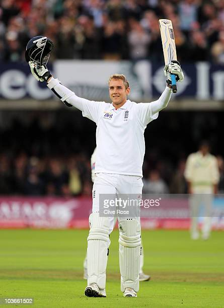 Stuart Broad of England celebrates his century during day two of the 4th npower Test Match between England and Pakistan at Lord's on August 27, 2010...