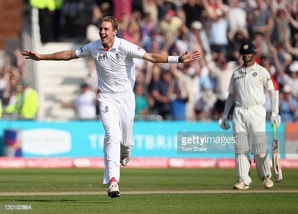 Stuart Broad of England celebrates taking his hat trick with the wicket of Praveen Kumar of India during the second npower Test match between England...