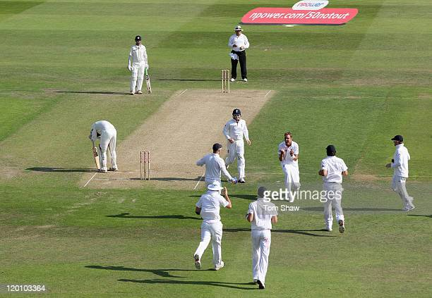 Stuart Broad of England celebrates taking the second wicket of his hat trick with the wicket of Harbhajan Singh of India during the second npower...