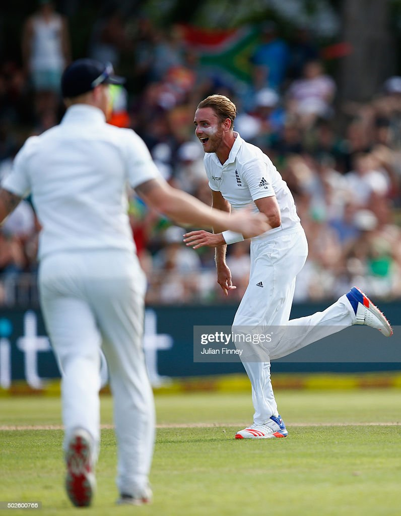 Stuart Broad of England celebrates taking the wicket of AB de Villiers of South Africa during day two of the 1st Test between South Africa and England at Sahara Stadium Kingsmead on December 27, 2015 in Durban, South Africa.