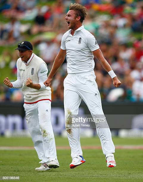 Stuart Broad of England celebrates taking the wicket of AB de Villiers of South Africa during day three of the 3rd Test at Wanderers Stadium on...