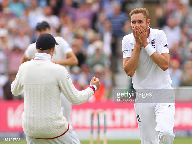Stuart Broad of England celebrates taking the wicket of Adam Voges of Australia during day one of the 4th Investec Ashes Test match between England...