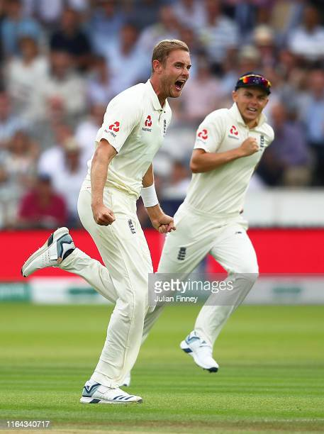 Stuart Broad of England celebrates taking the wicket of Andy Balbirnie of Ireland during day three of the Specsavers Test Match between England and...