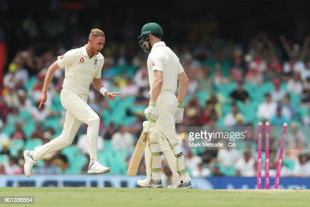 Stuart Broad of England celebrates taking the wicket of Cameron Bancroft of Australia during day two of the Fifth Test match in the 2017/18 Ashes...
