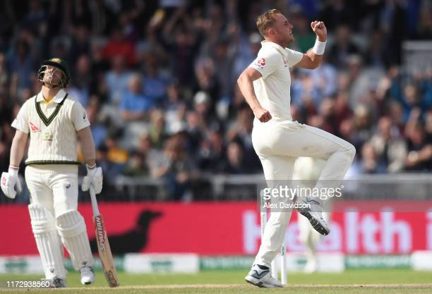 Stuart Broad of England celebrates taking the wicket of David Warner of Australia during Day Four of the 4th Specsavers Ashes Test between England...