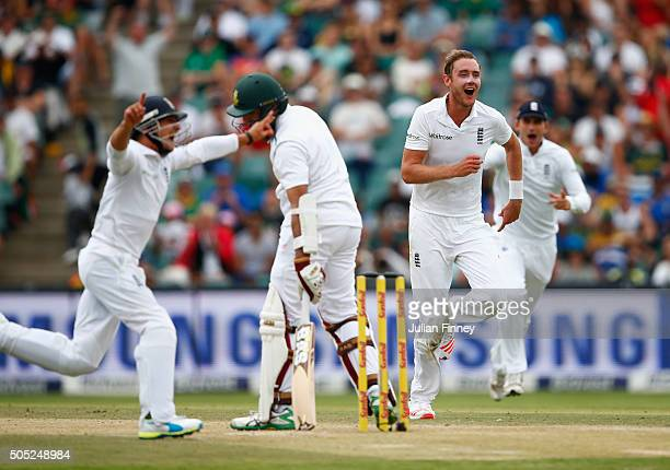 Stuart Broad of England celebrates taking the wicket of Hashim Amla of South Africa during day three of the 3rd Test at Wanderers Stadium on January...
