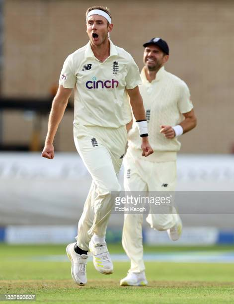 Stuart Broad of England celebrates taking the wicket of Kannaur Rahul of India during day four of the First LV= Insurance test match between England...