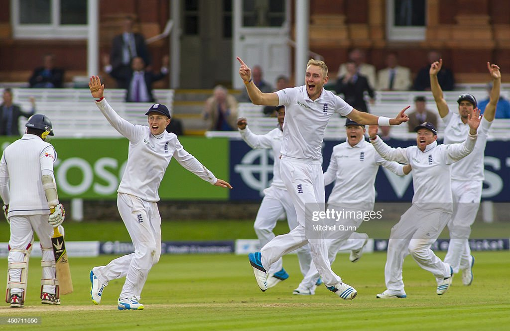 Stuart Broad of England celebrates taking the wicket of Rangana Herath of Sri Lanka during the Investec 1st Test Match day five between England and Sri Lanka at Lords Cricket Ground, on June 16, 2014 in London, England.
