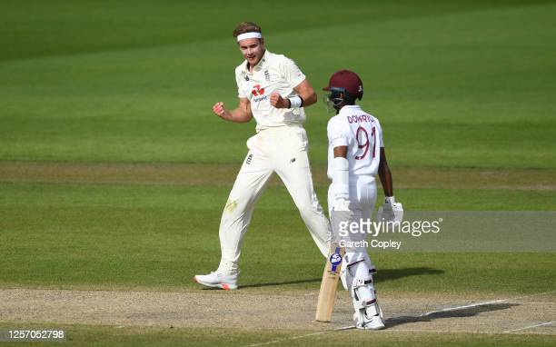 Stuart Broad of England celebrates taking the wicket of Shane Dowrich of West Indies during Day Four of the 2nd Test Match in the #RaiseTheBat Series...