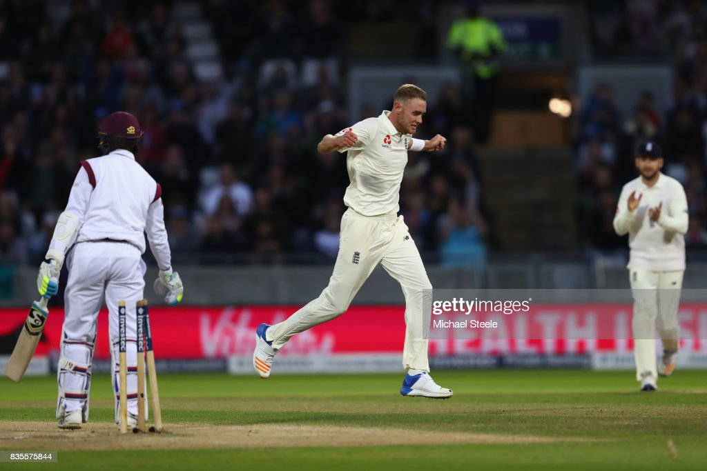 Stuart Broad of England celebrates taking the wicket of Shane Dowrich to become England's second highest wicket taker in Tests during day three of the 1st Investec Test match between England and West Indies at Edgbaston on August 19, 2017 in Birmingham, England.