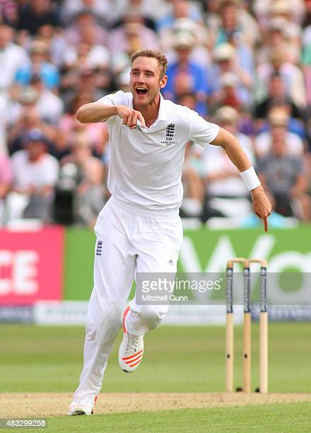 Stuart Broad of England celebrates taking the wicket of Steven Smith of Australia during day two of the 4th Investec Ashes Test match between England...