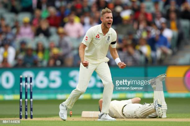 Stuart Broad of England celebrates the run out of Cameron Bancroft of Australia by Chris Woakes of England during day one of the Second Test match...