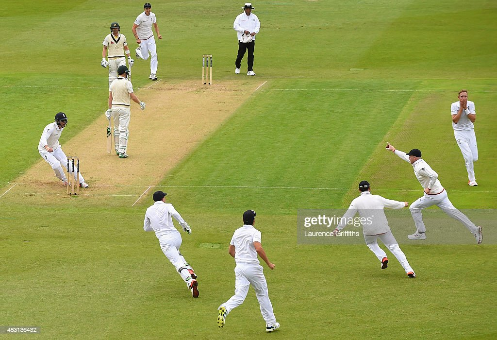 Stuart Broad of England celebrates the wicket of Adam Voges of Australia caught by Ben Stokes for 1 run during day one of the 4th Investec Ashes Test match between England and Australia at Trent Bridge on August 6, 2015 in Nottingham, United Kingdom.