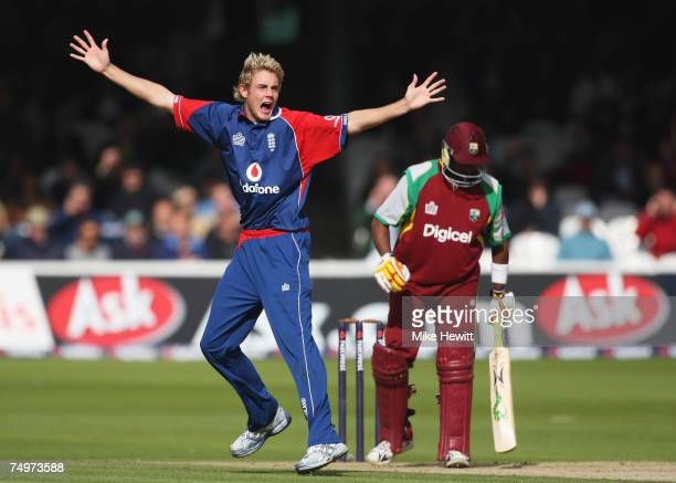 Stuart Broad of England celebrates the wicket of Dwayne Bravo of the West Indies during the 1st NatWest Series One Day International match between...