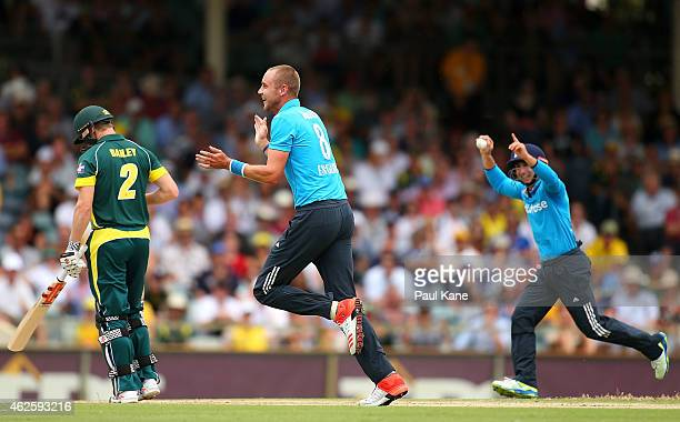 Stuart Broad of England celebrates the wicket of George Bailey of Australia during the final match of the Carlton Mid One Day International series...