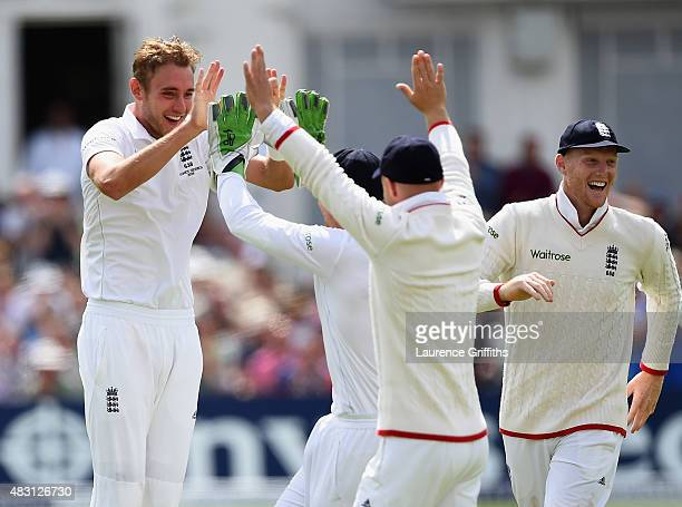 Stuart Broad of England celebrates the wicket of Mitchell Johnson of Australia during day one of the 4th Investec Ashes Test match between England...