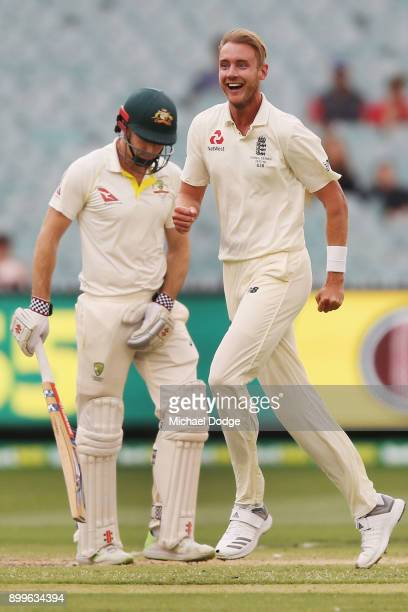 Stuart Broad of England celebrates the wicket of Shaun Marsh of Australia during day one of the Fourth Test Match in the 2017/18 Ashes series between...