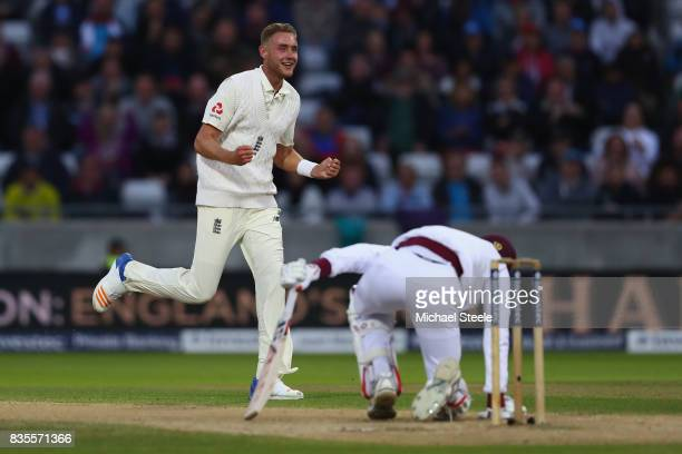 Stuart Broad of England celebrates trapping Roston Chase lbw during day three of the 1st Investec Test match between England and West Indies at...