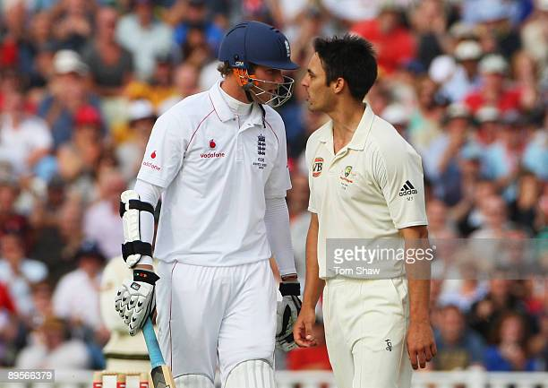 Stuart Broad of England exchanges words with Mitchell Johnson of Australia during day four of the npower 3rd Ashes Test Match between England and...