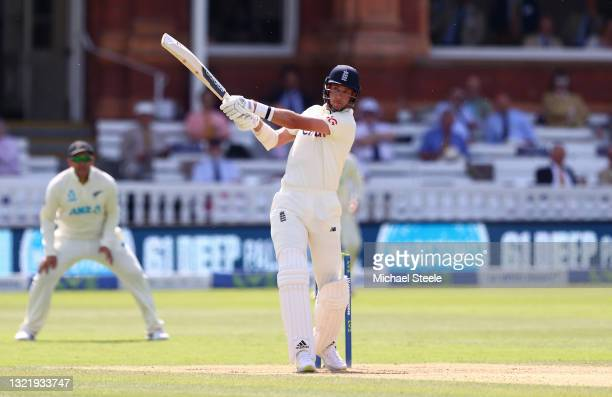Stuart Broad of England hits a six during Day 4 of the First LV= Insurance Test Match between England and New Zealand at Lord's Cricket Ground on...