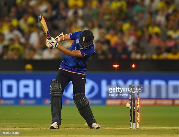 Stuart Broad of England is bowled by Mitchell Starc of Australia during the 2015 ICC Cricket World Cup match between England and Australia at...