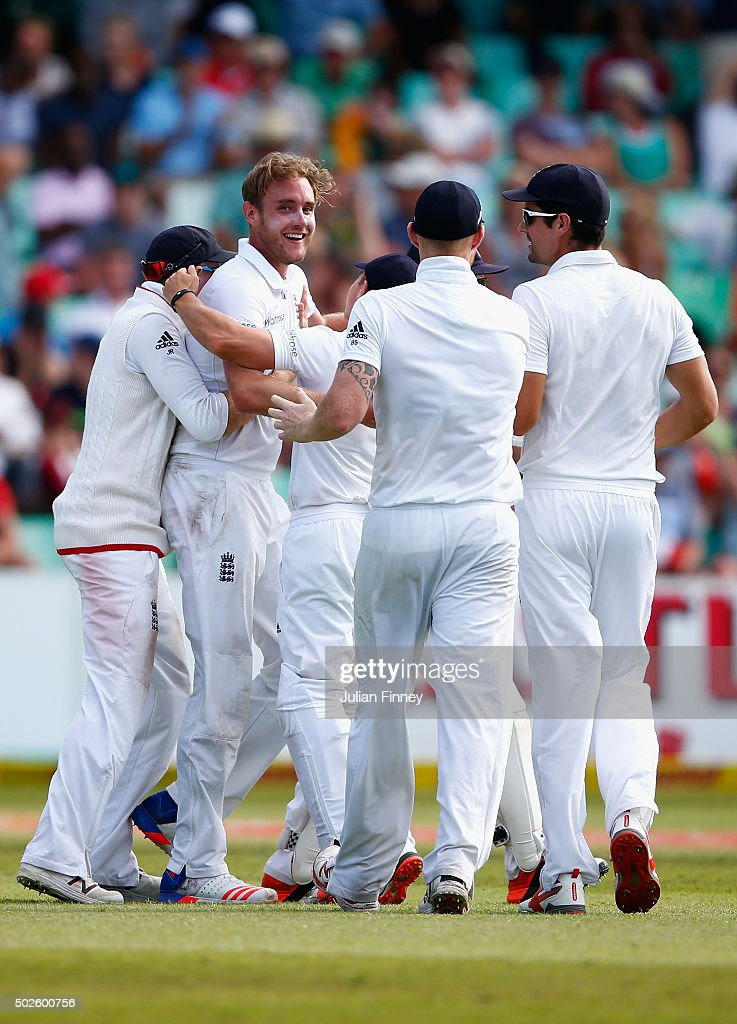 Stuart Broad of England is congratulated after AB de Villiers of South Africa was caught behind during day two of the 1st Test between South Africa and England at Sahara Stadium Kingsmead on December 27, 2015 in Durban, South Africa.