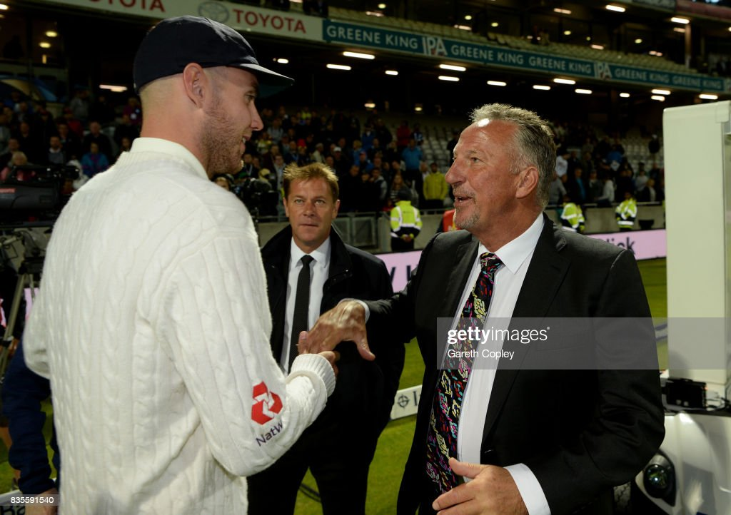 Stuart Broad of England is congratulated by Sir Ian Botham after becoming England's second leading wickettaker during day three of the 1st Investec Test between England and the West Indies at Edgbaston on August 19, 2017 in Birmingham, England.