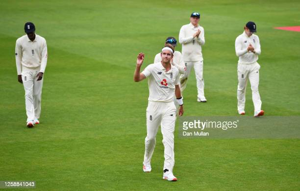 Stuart Broad of England leads his side off after taking six wickets during Day Three of the Ruth Strauss Foundation Test, the Third Test in the...