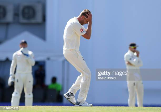 Stuart Broad of England looks frustrated during Day Two of the 2nd Test match between West Indies and England at Sir Vivian Richards Stadium on...