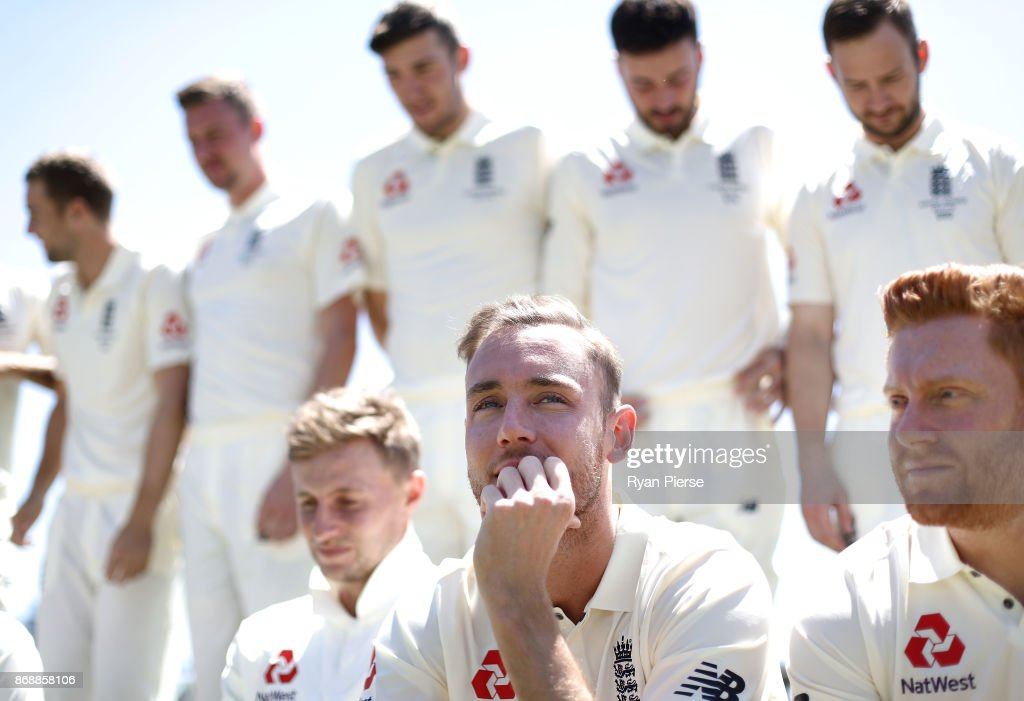 Stuart Broad of England looks on during a team photo before an England nets session at the WACA on November 1, 2017 in Perth, Australia.