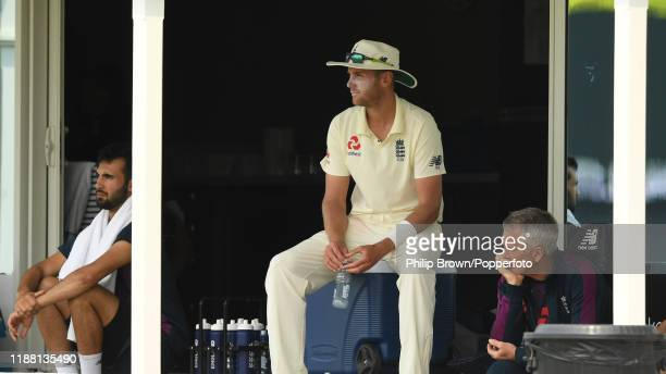 Stuart Broad of England looks on from the dressing room at Cobham Oval on November 17, 2019 in Whangarei, New Zealand.