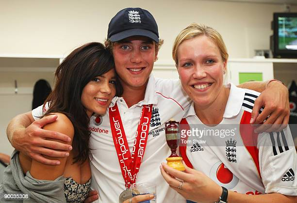 Stuart Broad of England poses with his girlfriend Kacey Barnfield and sister Gemma in the dressing room after day four of the npower 5th Ashes Test...