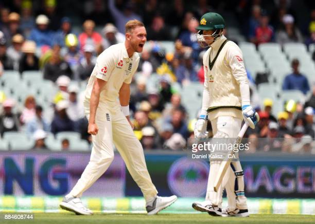 Stuart Broad of England reacts after dismissing Peter Handscomb of Australia during day two of the Second Test match during the 2017/18 Ashes Series...