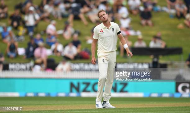 Stuart Broad of England reacts during day 1 of the second Test match between New Zealand and England at Seddon Park on November 29, 2019 in Hamilton,...