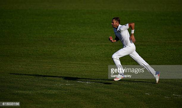 Stuart Broad of England runs into bowl during day one of the tour match between a Bangladesh Cricket Board XI and England at MA Aziz stadium on...
