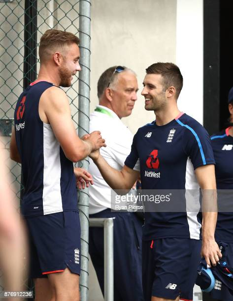 Stuart Broad of England shakes hands with Mark Wood of England Lions during an England nets session at The Gabba on November 21 2017 in Brisbane...