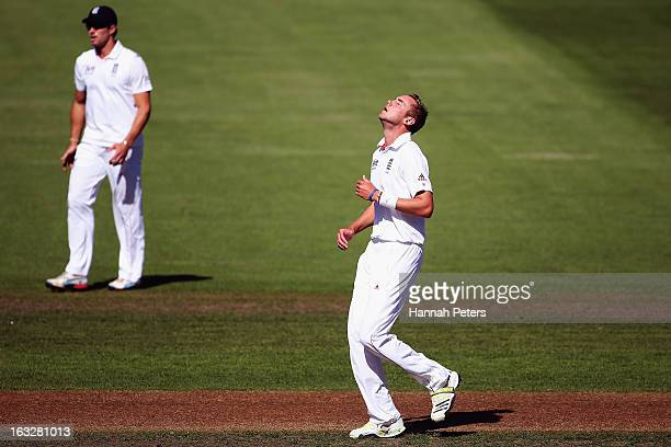 Stuart Broad of England shows his disappointment after a miss field during day two of the First Test match between New Zealand and England at...
