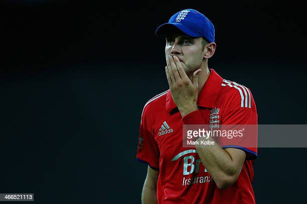 Stuart Broad of England shows his frustration during game three of the International Twenty20 series between Australia and England at ANZ Stadium on...