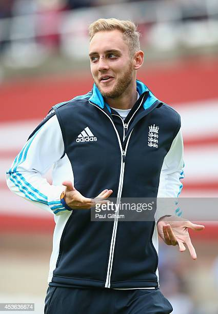 Stuart Broad of England smiles during the warm up prior to the start of day one of the 5th Investec Test match between England and India at The Kia...