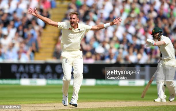 Stuart Broad of England successfully appeals for the wicket of David Warner of Australia during day one of the 1st Specsavers Ashes Test between...