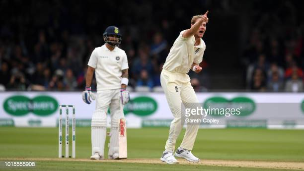 Stuart Broad of England successfully appeals for the wicket of India captain Virat Kohli during day four of the 2nd Specsavers Test between England...