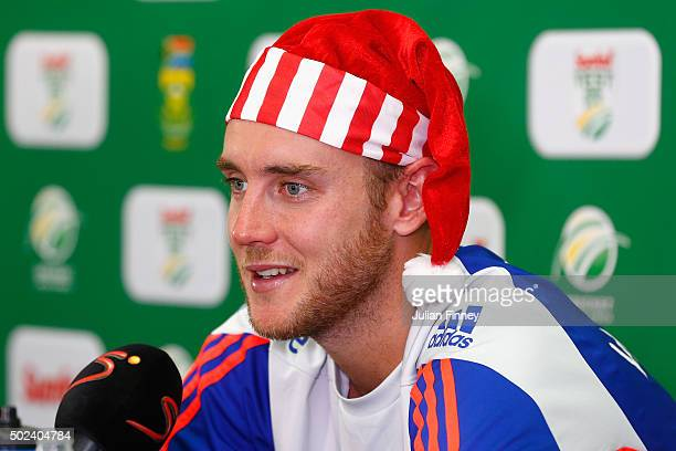 Stuart Broad of England talks to the media during England nets and training session at Sahara Stadium Kingsmead on December 24, 2015 in Durban, South...