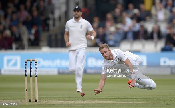 Stuart Broad of England throws the ball at the stumps during day two of 1st Investec Test match between England and New Zealand at Lord's Cricket...