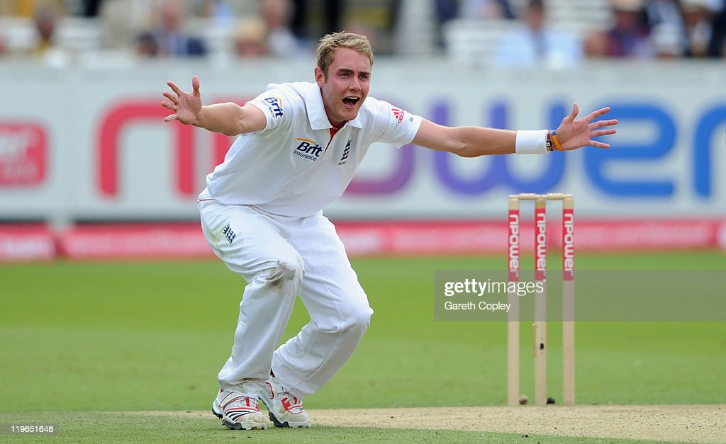 Stuart Broad of England unsuccessfully appeals for the wicket of MS Dhoni at Lord's Cricket Ground on July 23, 2011 in London, England.