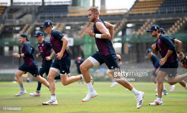 Stuart Broad of England warms up during a nets session at Premadasa Cricket Stadium on March 05, 2020 in Colombo, Sri Lanka.