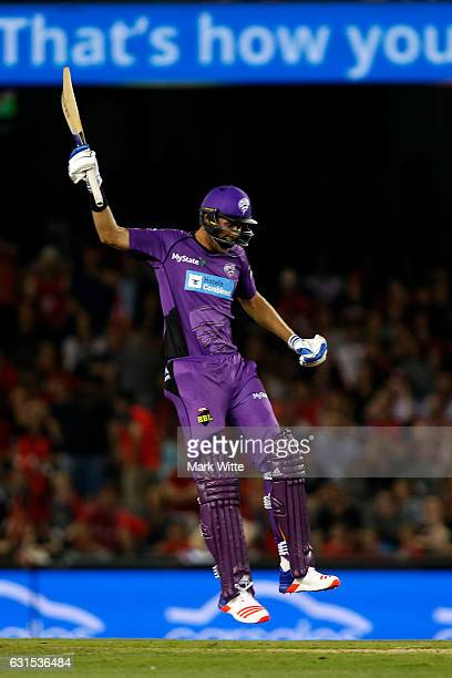 Stuart Broad of Hobart Hurricanes celebrates hitting the winning runs during the Big Bash League match between the Melbourne Renegades and the Hobart...